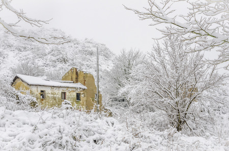 Heavy snowfall in the mountains of the Basque Country