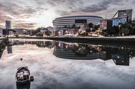 BILBAO, SPAIN - October 19, 2014: The Nervion River and elestadio of san Mames Bilbao, Vizcaya, Basque Country, Spain