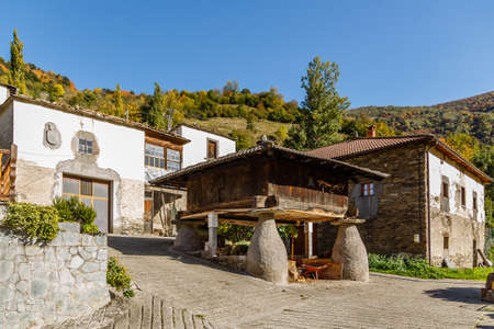 asturias: Old stone houses, called granary, in Trascastro, Asturias Stock Photo