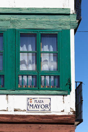 almagro: Wooden windows of the main square of Almagro, Ciudad Real, Spain