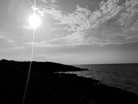 shore of the coast in black and with