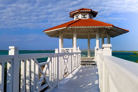 beautiful gazebo on the shore of the beach Stockfoto