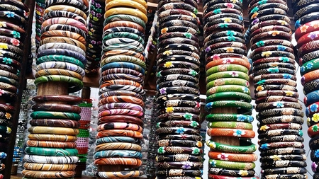 multi color: Multi Color Wooden Bracelets Stock Photo