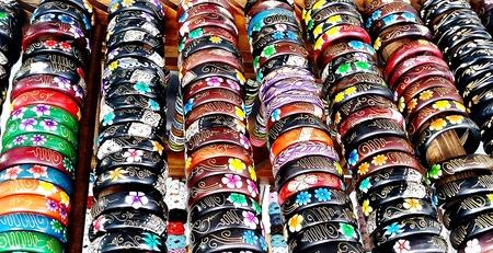 wooden color: Multi Color Wooden Bracelets Stock Photo