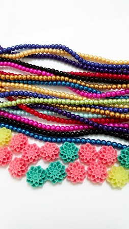 colorful beads: Colorful Beads Necklaces and Flowery Beads