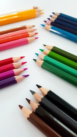 systematic: Systematic Display of Color Pencils Set
