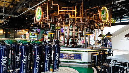 Pahang  Malaysia - July 1, 2019: Interior of the coolest drinking bar counter in High Line Roof Top Market at Sky Avenue Genting Highlands