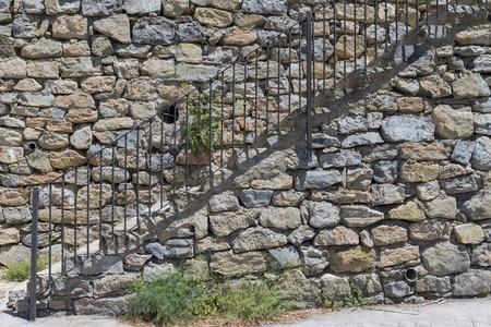 metallic stairs: Stone stairs. Stock Photo