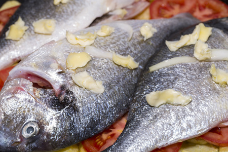 baked: Baked fish. Stock Photo