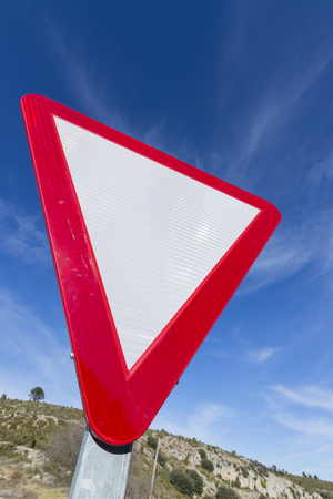 yield sign: Yield sign. Stock Photo