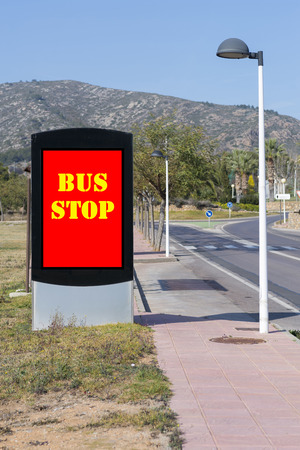 highway sign: Bus stop.