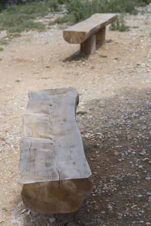 carpenter's bench: Wooden benches. Stock Photo