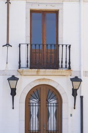 lighthouse keeper: Lighthouse facade of Peniscola Castellon, Spain. Stock Photo
