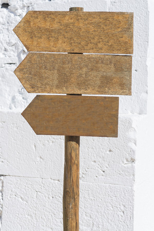 modifiable: Wooden signs. Stock Photo