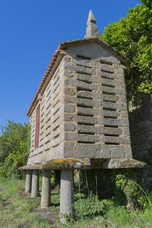 granary: Typical granary of Galicia Spain.