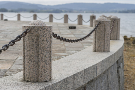 bollards: Stone bollards. Stock Photo