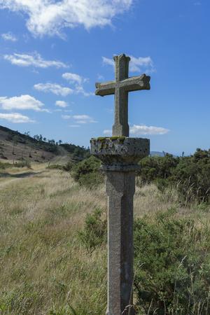inexhaustible: Stone cross. Stock Photo