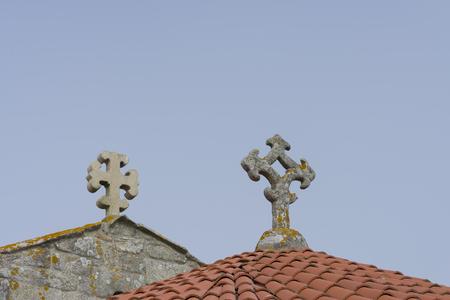doctrine: Stone crosses. Stock Photo