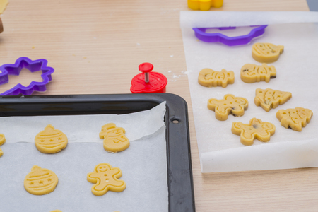 baking cookies: Prepared baking cookies. Archivio Fotografico