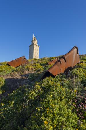 hercules: Hercules tower, roman lighthouse located in La Coruna, Spain. Stock Photo