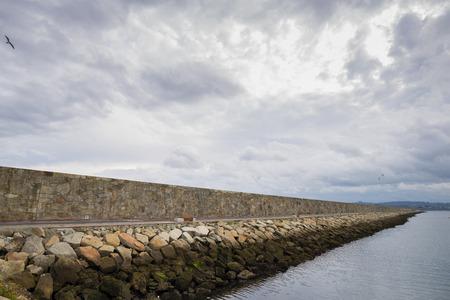 breakwater: La Coruna breakwater Spain. Stock Photo