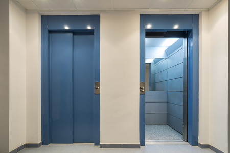 mezzanine: Elevators. Stock Photo