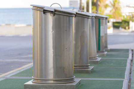 public waste: metal waste containers