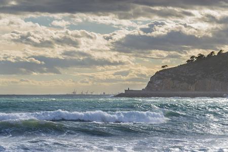 inclement: Coast of Oropesa del Mar (Castellon, Spain).