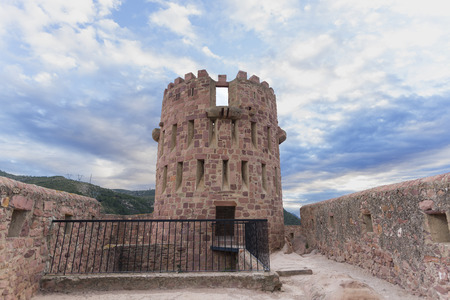crenellated tower: Crenellated tower in Vilafames Castle (Castellon, Spain).