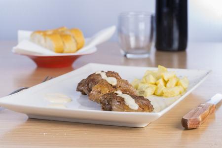 tenderloin: Beef tenderloin and cheese sauce. Stock Photo