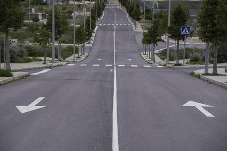 solid line: Street and arrows in Cabanes (Castellon - Spain).