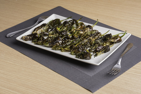 ration: Padron peppers. Stock Photo
