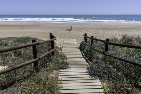 beach access: Access to Alcocebre beach (Castellon, Spain).