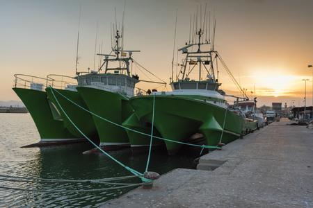 moored: Moored boats in El Grao (Castellon, Spain).