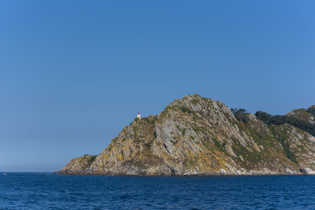 Lighthouse of San Martino Island (Cies Islands, Pontevedra - Spain). Stock Photo