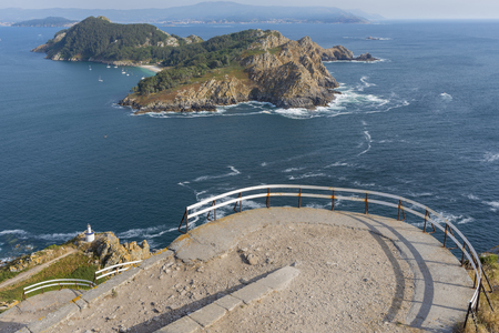 martino: Da Porta lighthouse and San Martino Island (Pontevedra, Spain). Stock Photo