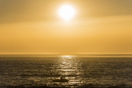pleasure ship: Boat at sunset.