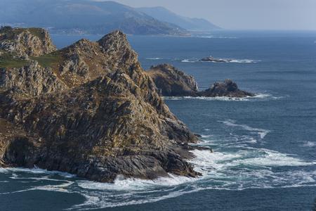 Coast of San Martino Island (Cies Islands) and Silleiro Cape (Pontevedra - Spain).