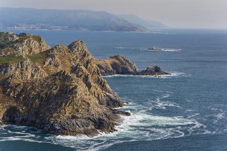 Coast of San Martino Island (Cies Islands) and Silleiro cape (Pontevedra, Spain). Stock Photo