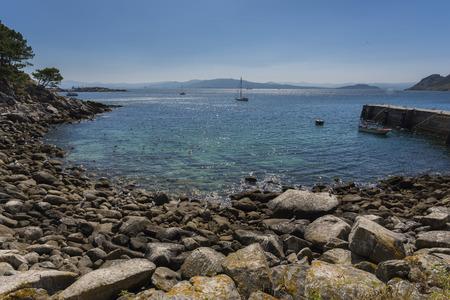 spacing: Coast of Montefaro Island, in Cies Islands (Pontevedra, Spain). Stock Photo