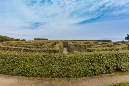 Labyrinth in Park of San Pedro (La Coruna, Spain). Stock Photo