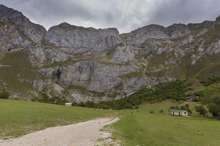 Peaks of Picos de Europa in Fuente De (Cantabria, Spain). Stock Photo