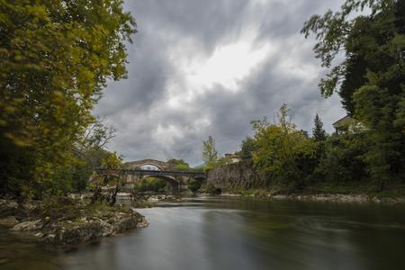 sella: Sella river and roman bridge in Cangas de Onis (Asturias, Spain).