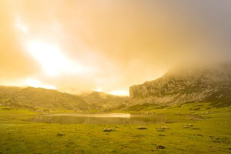 covadonga: La Ercina lake (Lakes of Covadonga, Asturias - Spain). Stock Photo