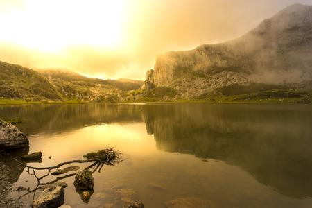 La Ercina lake (Lakes of Covadonga, Asturias - Spain). Stock Photo