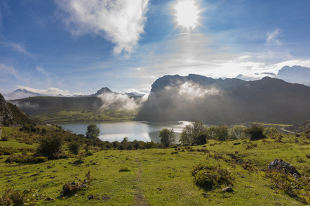 Enol lake (Lakes of Covadonga, Asturias - Spain). Stock Photo