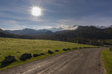 Path in Lakes of Covadonga (Asturias, Spain). Stock Photo