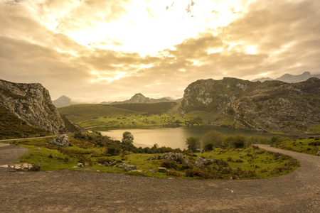 Enol lake (Lakes of Covadonga, Asturias - Spain). Stock Photo