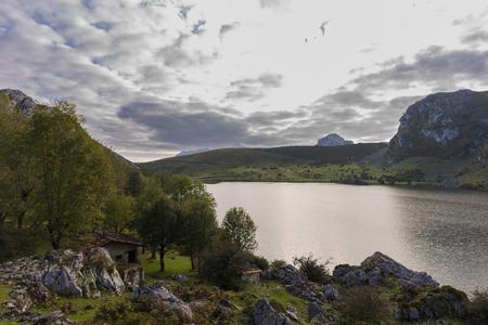 covadonga: Enol lake (Lakes of Covadonga, Asturias - Spain). Stock Photo