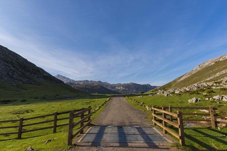 covadonga: Path in Lakes of Covadonga (Asturias, Spain). Stock Photo